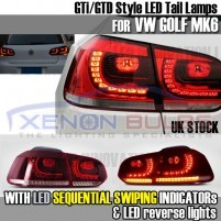 VW GOLF MK6 LED R-DESIGN SEQUENTIAL SWIPE Tail Lights Lamps Set Pair R..
